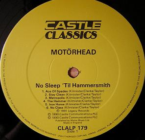 No Sleep til Hammersmith, CLA LP 179